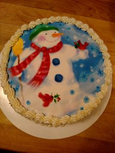 Vanilla layer cake with edible image snowman Edible Printing, Christmas Time Is Here, Snowman, Vanilla, Holidays, Baking, Cake, Desserts, Prints