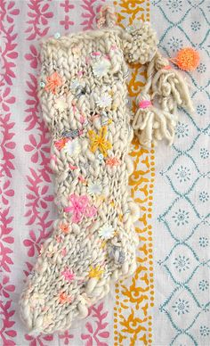 holiday stocking | knit collage. pattern by danielle shields. loooove this! (stardust garland yarn)