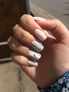 145 Beautiful Marble Nails Design Ideas to Try at Home Marble Nail Designs, Colorful Nail Designs, Nail Art Designs, Nails Design, Marble Nails, Acrylic Nails, Cute Nails, Pretty Nails, Hair And Nails