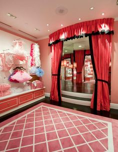 This is the fashion room at The Eloise Shop at The Plaza! - would love to do a little girl's walk-in closet like this!