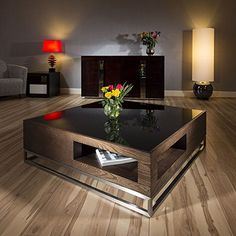 modern designer coffee table large square walnut with black glass