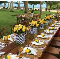Bridal Shower Decorations Table Settings Party Ideas 26 Ideas For 2019 Table Decoration Wedding, Bridal Shower Decorations, Wedding Table, Summer Table Decorations, Decor Wedding, Yellow Party Decorations, Wedding Themes, Wedding Ideas, Blue Table Settings