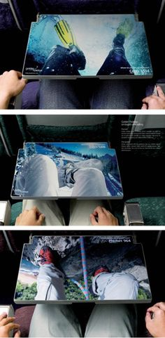 Clever use of advertising space on the tray tables of an airplane.
