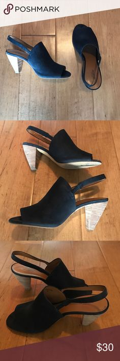 Kate Spade Saturday Mules Kate Spade Saturday black leather mules with slingback straps. Stacked wooden heel. In good condition. kate spade Shoes Mules & Clogs