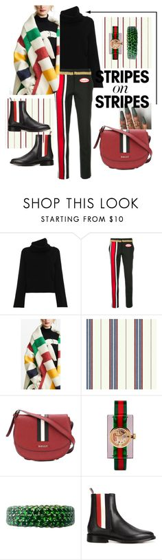 """""""Festive stripes"""" by yeenie ❤ liked on Polyvore featuring Chloé, Moschino, Monse, Clarion, Bally, Gucci, Thom Browne, stripesonstripes and PatternChallenge"""