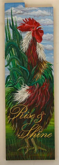 Rooster Rise and Shine original acrylic painting on reclaimed rustic solid wood board Rooster Painting, Rooster Art, Rooster Decor, Tole Painting, Chicken Painting, Chicken Art, Gold Acrylic Paint, Chickens And Roosters, Galo