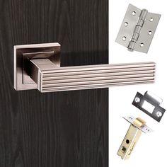 Senza Pari Dritto Lever on Square Rose - Satin Nickel Pack. #latchpack #doorhandlelatchpack #contemporarydoorhandle