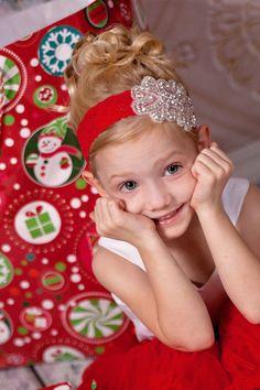 Christmas Headband Rhinestone Headband Flower Girl by Pizzazzies