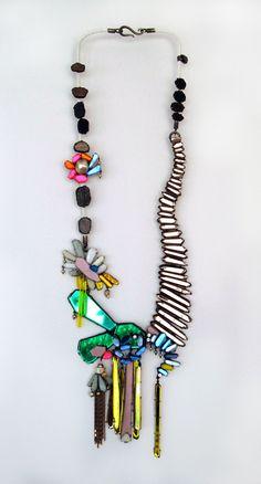 Nikki Couppee Necklace -plexiglass, brass, found object  www.nikkicouppee.com