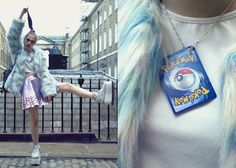 Sabrina Carder - Boohoo Fur Coat, Missguided Metallic Skirt, Made It Myself Pokemon Necklace, Boshe Boots - LFW AW15 Day 2