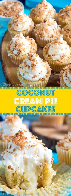 Coconut Cream Pie Cupcakes — moist, light and airy coconut cupcakes filled with coconut custard and topped with creamy coconut frosting and toasted coconut. These cupcakes are loaded with coconut flavour!