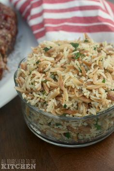 easy rice pilaf This simple, delicious side dish features both rice and orzo pasta and is infused with fresh herbs. Rice Side Dishes, Side Dishes Easy, Vegetable Side Dishes, Food Dishes, Italian Rice Dishes, Easy Rice Pilaf, Rice Pilaf Recipe, Almond Rice Recipe, Side Dish Recipes