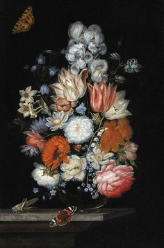 Ottmar Elliger the Elder (1633 Gothenburg - 1679 Berlin), Still life with Flowers, Red Admiral Butterfly and a Grasshopper