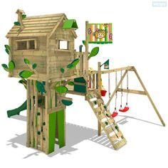 Cabane avec toboggan Wickey Smart Treetop. Vous trouvez un vaste choix de tours d'escalade, portiques et bac à sable dans notre boutique en ligne.