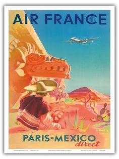 Air France Paris-Mexico Direct - Aztec Pyramid of the Sun S. Prout c.1952