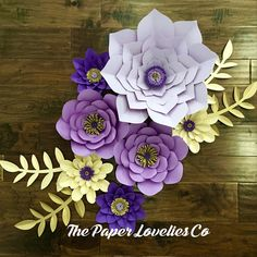 Purple and gold Paper flower set
