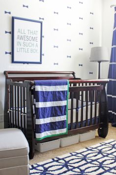 "Baby Boy Nursery - we love the ""All that Awesome in Such a Little Boy"" print and the bow tie wall decals!"