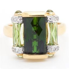 Bellarri Green Tourmaline, Peridot & Diamond Ring - Item # R6332 - Reliable Gold