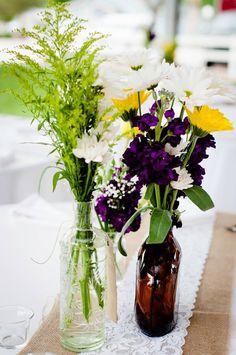 Wedding Centerpiece, burlap, lace and vintage bottles
