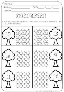 Atividades de matemática - conjuntos e quantidade - A Arte de Ensinar e Aprender Counting Worksheets For Kindergarten, Fall Preschool Activities, Numbers Preschool, Homeschool Kindergarten, Free Preschool, Kindergarten Writing, Worksheets For Kids, Math Coloring Worksheets, Cvc Word Families