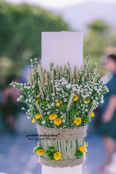 Λαμπάδα Γάμου, wedding candle, lambadas, orthodox wedding santini, statice, triticum wheat