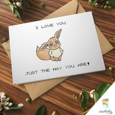 EEVEE LOVE Greeting Card  Pun Love Couple Cute Pokemon by ecolorty