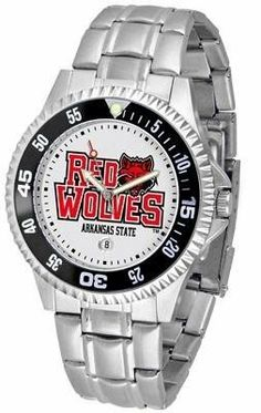 Arkansas State Red Wolves Men's Stainless Steel Watch by SunTime. $76.95. Officially Licensed Arkansas State Red Wolves Men's Stainless Steel Watch. Rotating Bezel. Stainless Steel. Men. Links Make Watch Adjustable. Arkansas State Red Wolves men's stainless steel watch. Arkansas State Red Wolves metal wrist watch works for dress or casual apparel. Functional rotating bezel is color-coordinated to compliment your favorite team logo. The Competitor Steel utilizes an ...