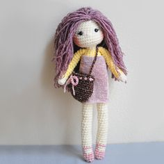 Crochet Doll Spring-time inspired Lavender color by LinaMarieDolls ♡