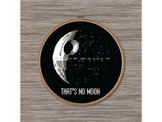 """PDF Cross Stitch Pattern: Death Star and Star Wars quote: """"That's No Moon"""" - Obi Wan Kenobi"""