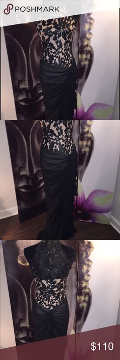 Elegant gown Hot Miami styles. Worn once. Great condition true to size. I'm 5.3 and the dress was as long on me, as it looks on the model, wearing 4inch heels. Firm on price (NOT negotiable). Hot Miami styles  Dresses