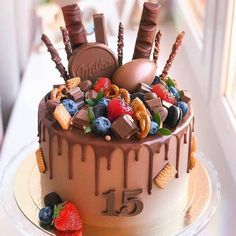 Image may contain: dessert and food - Cake - Gateau Nutella Birthday Cake, Candy Birthday Cakes, Birthday Cakes For Teens, Chocolate Birthday Cake Decoration, Bolo Drip Cake, Drip Cakes, Chocolate Cake Designs, Best Chocolate Cake, Crazy Cakes
