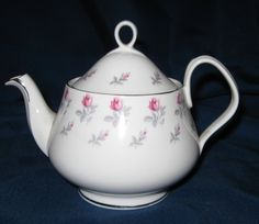 Royal Albert Winsome Tea Pot with Lid Pink Roses w Gray Leaves | eBay