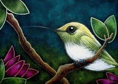 Art: TINY COPPERY HUMMINGBIRD ...IN MY GARDEN by Artist Cyra R. Cancel