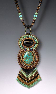 Bead Embroidered, Beadwork, Beadwoven, Turquoise Goddess Necklace via Etsy