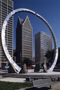 Hart Plaza Detroit David Barr Statue Titled Transcending