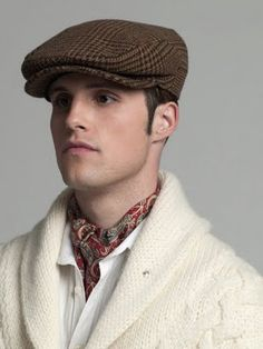 Cream Wool Shawl Collared Cardigan, Paisley Silk Cravat, and Tweed Driving Cap… Shawl Collar Cardigan, Sweater Hat, Driving Cap, Mens Fashion Sweaters, News Boy Hat, Cravat, Mens Fall, Well Dressed Men, Autumn Winter Fashion
