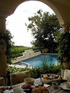 French poolside patio