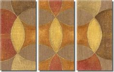 Abstract Warm Color Decorative Modern Oil Painting Hand Painted Wall Art Contemporary 3 Piece Ready to Hang