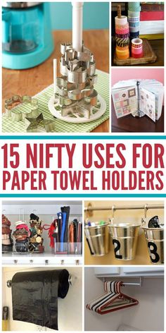 Brilliant, Sanity saving uses for paper towel holders! I love Ideas 1 and 2!-One Crazy House