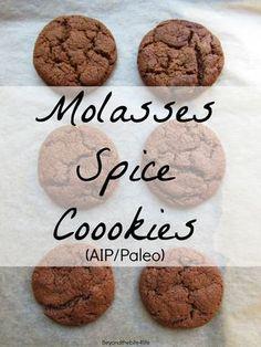 Anti-Grain Squash & Sweet Potato Flour Molasses Spice Cookies (Coconut free, AIP/Paleo)