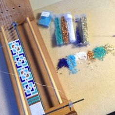 Got the Blues is simple and clean, with a hint of copper and silver. Bead Loom Patterns, Beading Patterns, Bead Loom Bracelets, Blue Beads, Band, Loom Beading, Bead Weaving, Artisan Jewelry, Seed Beads