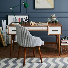 Mid-Century Desk - Acorn + White | west elm