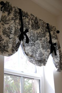My black toile powder room curtain I just made :)