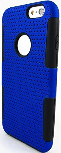 """myLife 2 Layer Neo Hybrid Bumper Case for iPhone 6 Plus (5.5"""" Inch) by Apple {Luxury Black + Cobalt Blue """"Perforated Mesh Net"""" Two Piece SECURE-Fit Rubberized Gel} myLife Brand Products http://www.amazon.com/dp/B00PT46C3Q/ref=cm_sw_r_pi_dp_Md2Cub1J4G456"""