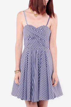 Gisele Gingham Spaghetti Strap Dress $211