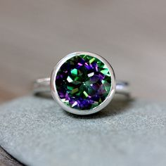 Ready To Ship Size 8.5  Sterling Silver Ring Featuring Mystic Topaz Ring, Recycled Sterling ROCK FETISH Solitaire Ring on Etsy, $188.00