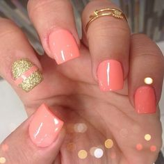 Coral nails with gold glitters, 50 Best Acrylic Nail Art Designs, Ideas & Trends 2014 Acrylic Nails Natural, Best Acrylic Nails, Acrylic Nail Art, Acrylic Nail Designs, Fabulous Nails, Gorgeous Nails, Pretty Nails, Get Nails, Love Nails