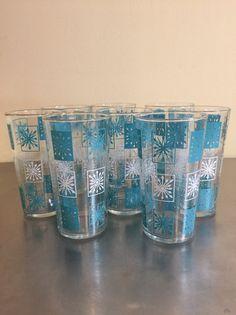 Atomic Drinking Glasses  Set of 8  Aqua Star by PineStreetPickers