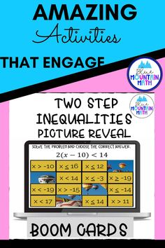 Are you looking for an interactive and self-correcting resource to practice two step inequalities with your students? There are 2 different pictures with 16 problems for each picture on solving inequalities. Students start with the picture totally covered by the answer boxes. As they answer each question correctly, more and more of the covered picture is revealed.