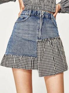 women-s-fashion-plaid-denim-panel-mini-skirt - Fashion Fashion Mode, Denim Fashion, Skirt Fashion, Fashion Clothes, Fashion 2018, Fashion Jewelry, Plaid Mini Skirt, Mini Skirts, Button Down Denim Skirt